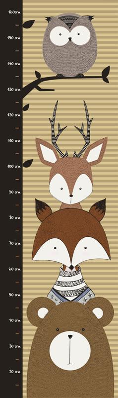 TENSTICKERS. 子供の動物のメーターの高さのチャートの壁のステッカー. 垂直面に沿ってさまざまな動物のデザインが特徴の子供向けの装飾的な高さチャートステッカー。平面への塗布が容易です。