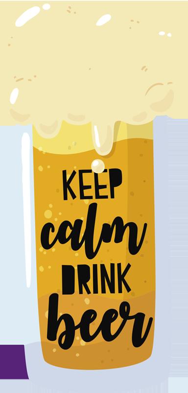 TENSTICKERS. ドリンクビールドリンクウォールステッカー. キッチンやバーのスペースを飾る美しいビールドリンクウォールステッカー。デザインはグラスにビールの質感をあしらい、「落ち着いてビールを飲む」というテキストが付いています。