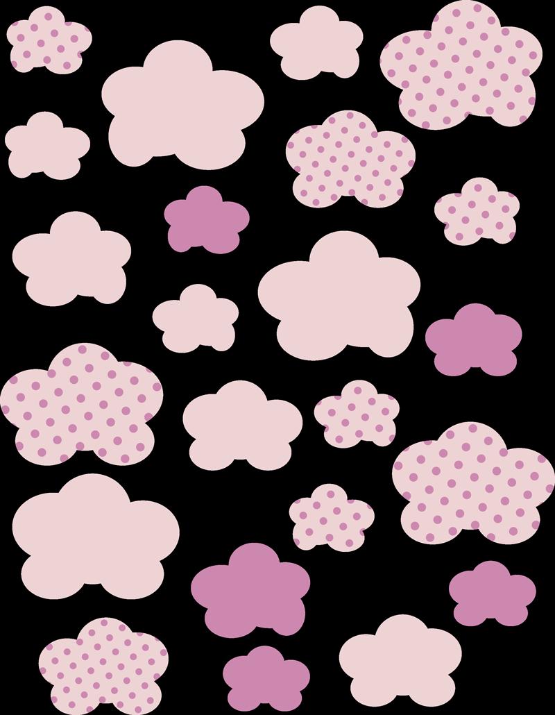 TENSTICKERS. ピンクの雲イラスト壁アートデカール. 雲を示すさまざまなピンクの背景パターンを備えた装飾的な実例の子供の壁ステッカーデザイン。適用は簡単です。