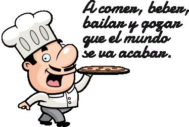 TenVinilo. Vinilo decorativo refrán gozar comida. Adhesivo divertido de un simpático cocinero llevando un refranero popular que te incita a comer, beber, bailar y gozar.