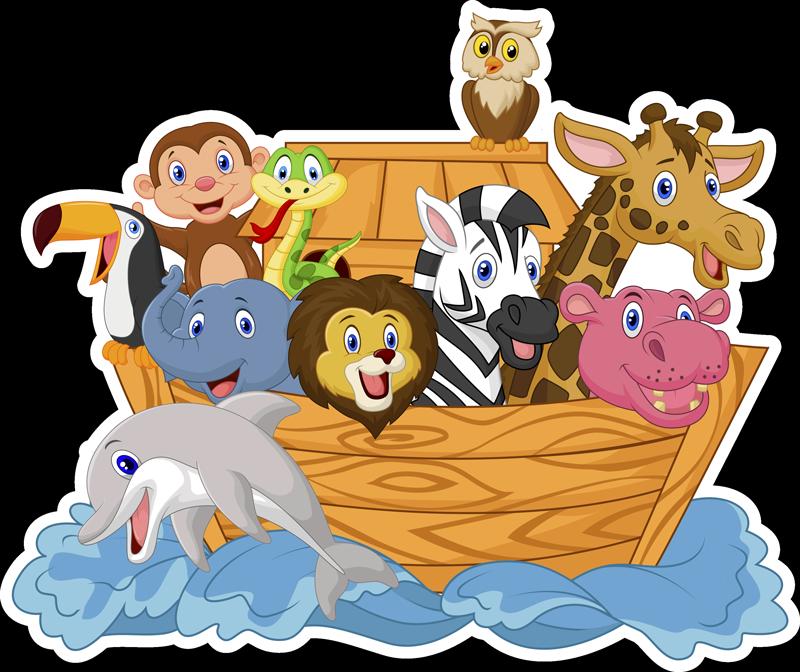 TENSTICKERS. 子供のノアの箱舟のおとぎ話の壁のステッカー. 子供の寝室の装飾のための装飾的な実例となるノアのアートウォールステッカーデザイン。デザインは、さまざまな動物や人が乗った海上のボートです。