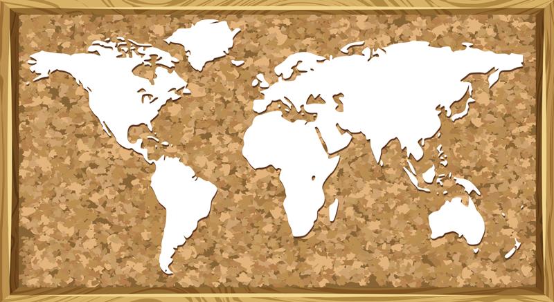 TENSTICKERS. コルク世界地図ステッカー. 正方形の背景にコルクテクスチャ世界地図ステッカーデザイン。オフィスやリビングのスペースとしても最適です。適用が簡単で、どのサイズでも利用できます。
