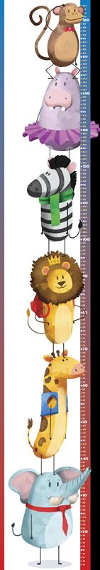 TENSTICKERS. サファリ幼児身長チャートステッカー. メーターのキャリブレーションされた表面に沿った、さまざまなファンキーな動物のデザインが特徴の動物の身長チャートウォールステッカー。簡単に貼り付けることができます