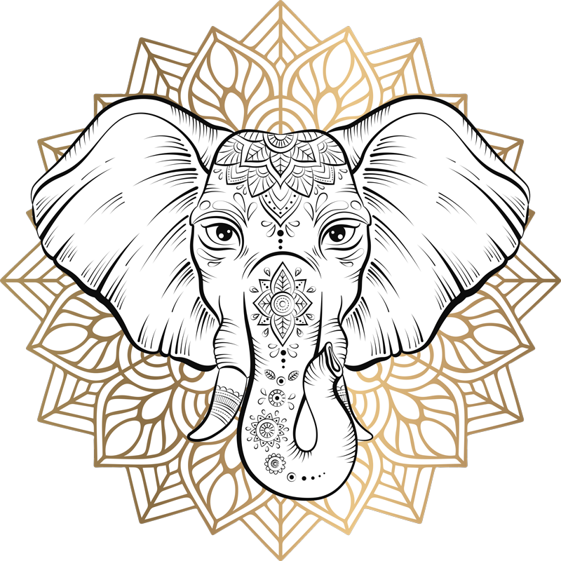 TENSTICKERS. マンダラ象の野生動物ステッカー. マンダラのデザインと一緒に飾られたオリジナルの象の動物の壁のステッカーで、部族の芸術のタッチを空間にもたらします。