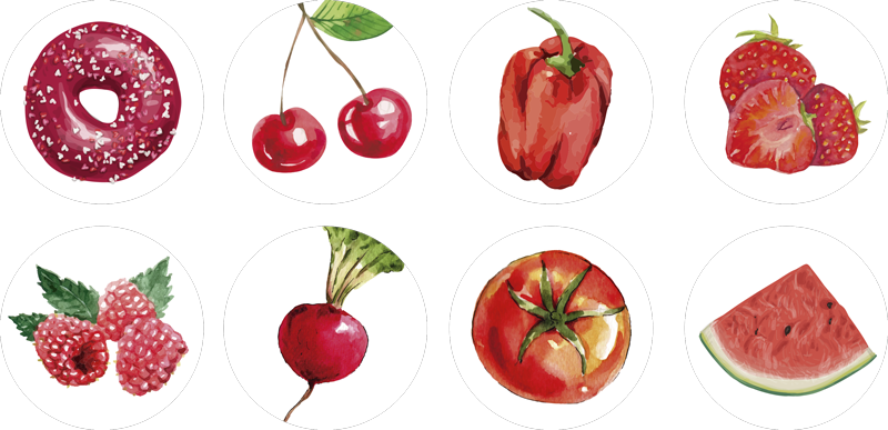 TENSTICKERS. 赤い食べ物ウォールステッカー. 赤い色のさまざまな野菜や果物を特集したキッチンウォールステッカーのコレクションからの素晴らしいフードウォールアートステッカーの装飾です。