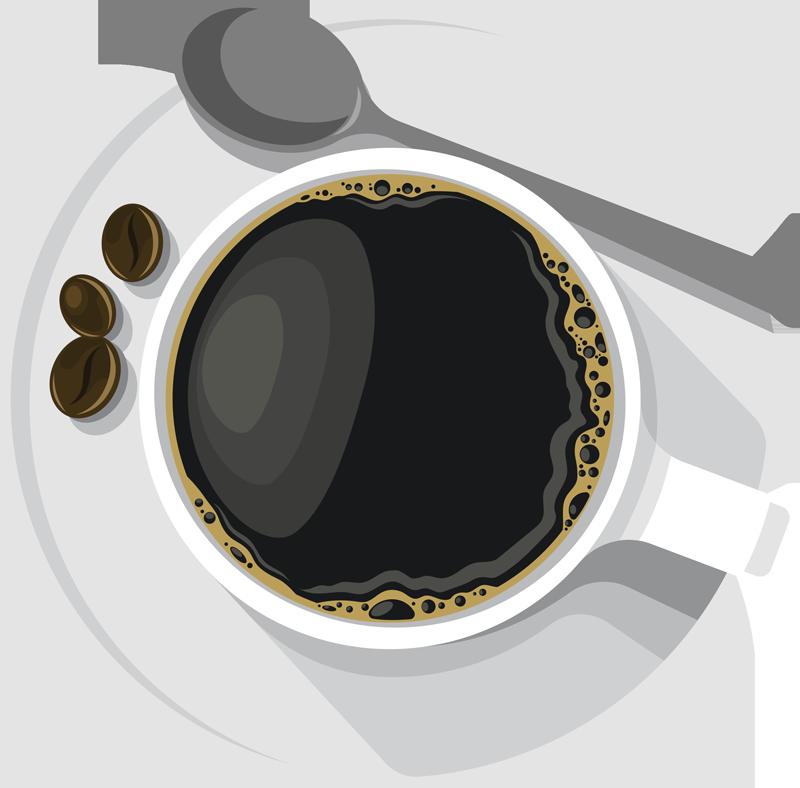 TENSTICKERS. オーバーヘッドコーヒーマグドリンクウォールステッカー. ダイニング、キッチン、コーヒースペースの装飾的な現実的なコーヒードリンクウォールステッカーのアイデア。適用が簡単で、高品質のビニールで作られています。
