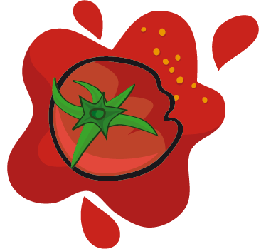 TenStickers. Crushed Tomato Sticker. Kitchen Stickers - Red tomato sticker to a touch of colour and flavour to your kitchen. High quality kitchen sticker showing a tomato and a splat of red tomato juice