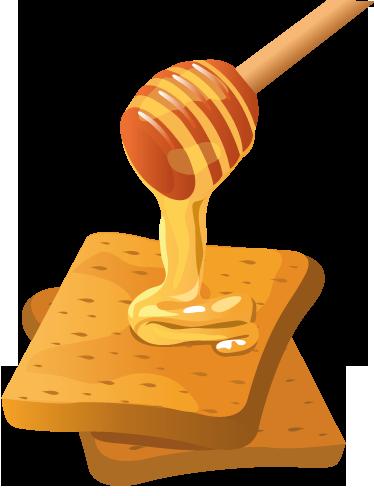 TenStickers. 허니 토스트 데칼. 벽 스티커-데칼-달콤한 꿀에 덮여 빵의 두 황금 구운 된 조각 그림.