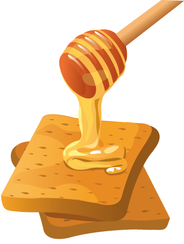 TENSTICKERS. ハニートーストデカール. ウォールステッカー-デカール-甘い蜂蜜で覆われているパンの2つの黄金のトーストスライスのイラスト。