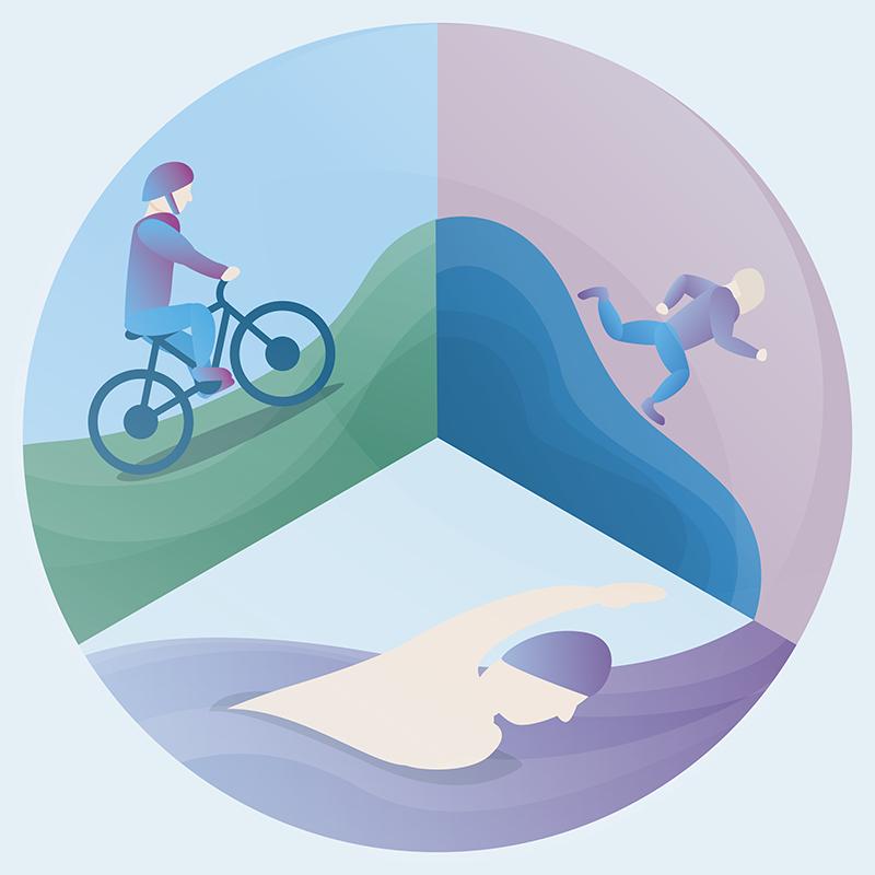 TenStickers. Muurstickers Olympische Spelen Triatlon sporten. Een olympisch activiteit muursticker ontwerp van triathlonsport. Het ontwerp bestaat uit een zwemmer, een fietser en een hardloper. Het is gemakkelijk aan te brengen en van kwaliteit.