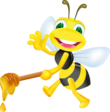 TenStickers. Honey Bee Wall Sticker. Fun kid's wall sticker showing a bumble bee bringing honey to his friends while smiling and waving, from our collection of bee wall stickers. This cute cartoon wall sticker is perfect for creating a warm and loving atmosphere in your child's room.