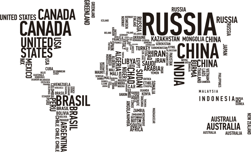 TenStickers. Autocolante de texto Mapa Mundo. Autocolante de parede fantástico que ilustra o mapa mundo em texto. Mural de parede moderno, original e contemporâneo.