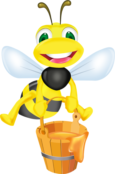 TenStickers. Bee & A Bucket Of Honey Wall Sticker. Kids Stickers - A fun and playful illustration of a honey bee carrying a bucket of golden honey. Ideal for decorating kids bedrooms and play areas and creating a pleasant and unique atmosphere.