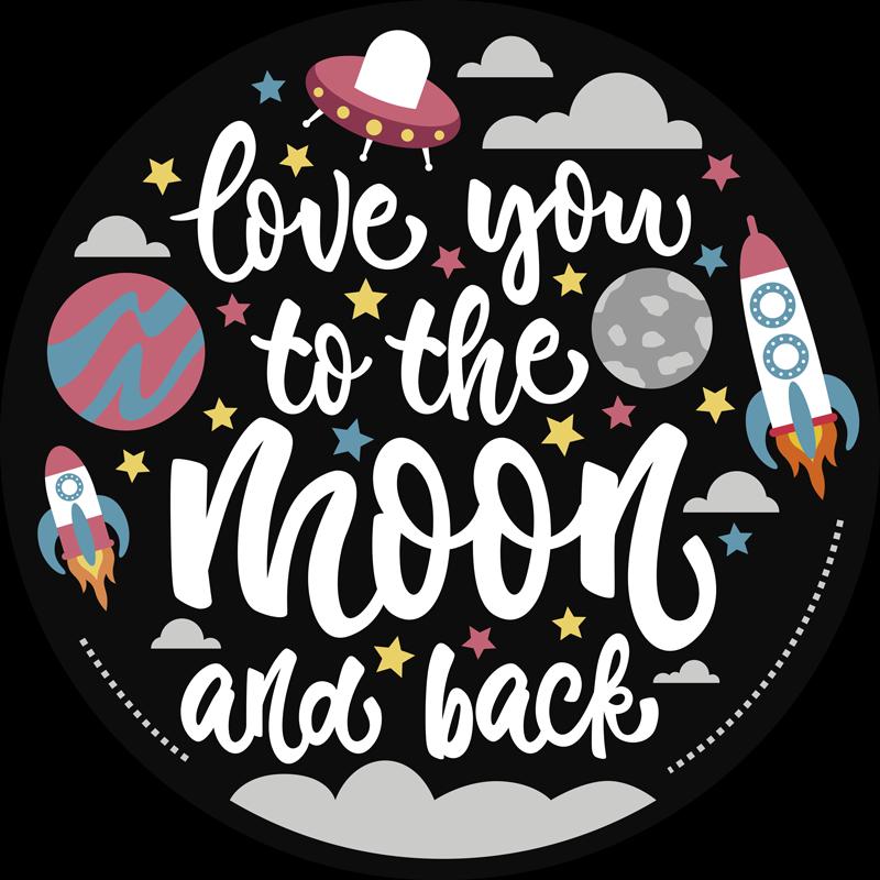 TENSTICKERS. ムーンスペースデカールにあなたを愛して. スペースの要素を備えたスペーステーマのウォールステッカーとテキスト「あなたを月に愛して」を使って、あなたの心とあなたの子供への愛を表現してください。