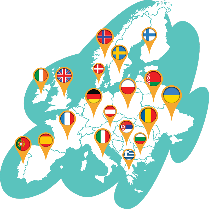 TENSTICKERS. 世界地図ヨーロッパ世界地図ステッカー. 装飾的なヨーロッパのマップの場所の壁のステッカーデザインは、マップ上のさまざまな国の旗の表現を備えています。