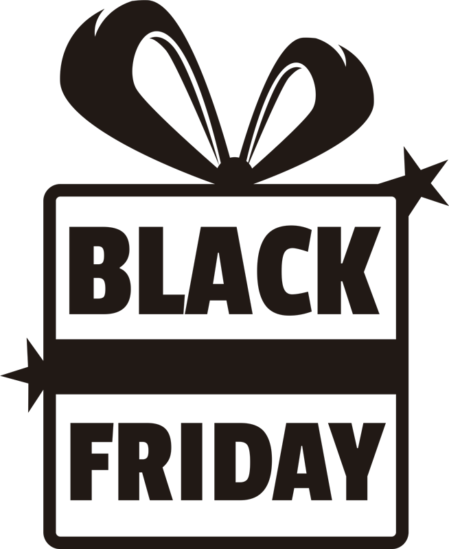 TenStickers. Festive Black Friday window window sticker. Seeing as black Friday is so close to Christmas, why not combine the two with this retail sticker? Easy to apply. Available in a variety of sizes