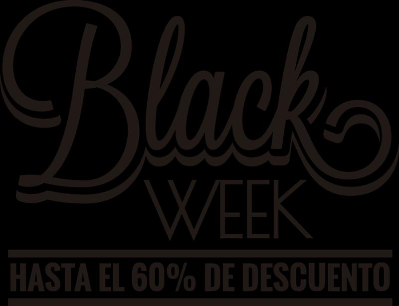 """TenVinilo. Vinilo decorativo personalizable Black Week Descuento Hasta. Vinilo personalizado para el escaparate de tu negocio formado por el texto """"Black Week hasta el x% de descuento"""". Fácil aplicación y sin burbujas."""