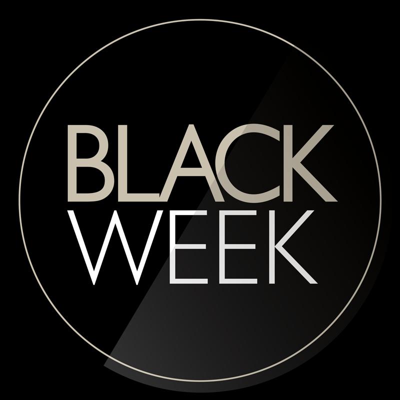 TenVinilo. Vinilo texto promo black week. Vinilo adhesivo de Black Friday para colocar en el escaparate de tu negocio y llamar la atención de los clientes potenciales con este magnífico diseño