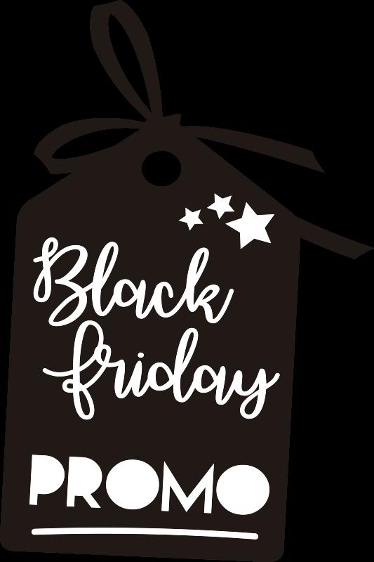 TenStickers. Vitrophanie black friday promo. Stickers vitrine black Friday de forme d'étiquette sera parfait pour attirer du monde à votre magasin pour cet évènement de reduction énorme!