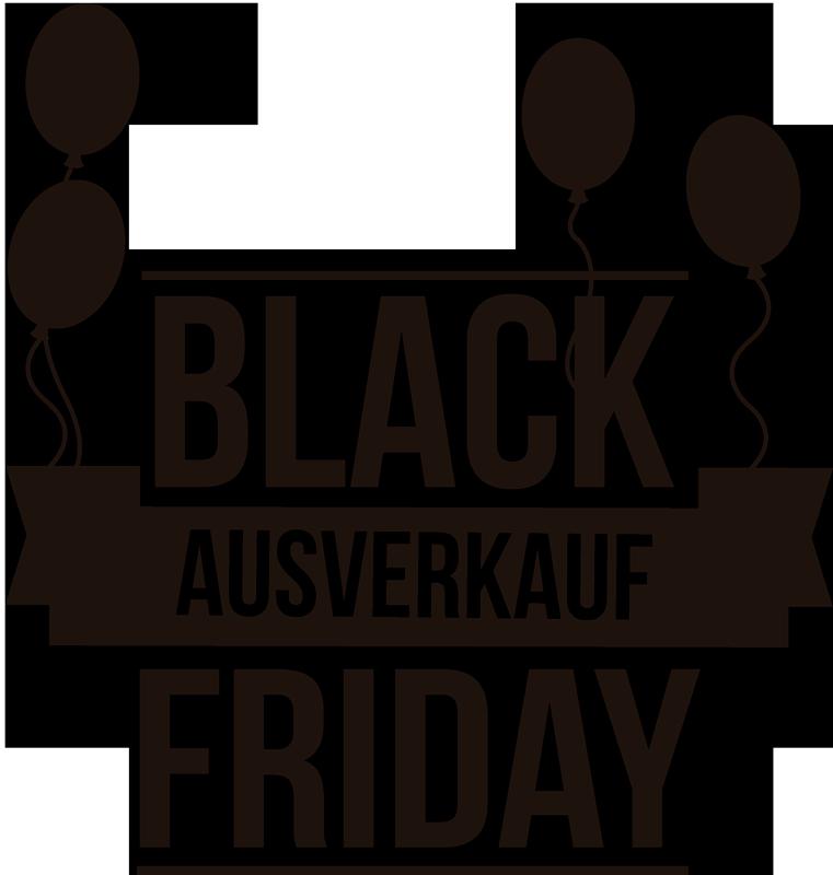 TenStickers. Rabatt Black Friday Ausverkauf Aufkleber. Dieser schöne Rabatt Aufkleber für den Black Friday ist perfekt für Ihr Schaufenster. In höchster Qualität und ganz nach Ihren Vorstellungen.