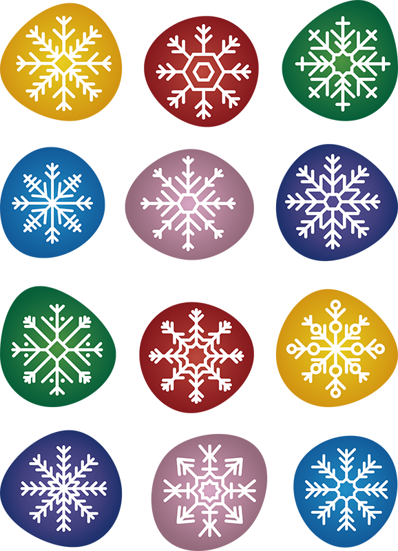 TenStickers. Colorful Snowflakes christmas wall decal. Decorative and easy to apply wall Christmas decal on round circles with ornamental flower on it in multi colours. You can buy it in any size you want.