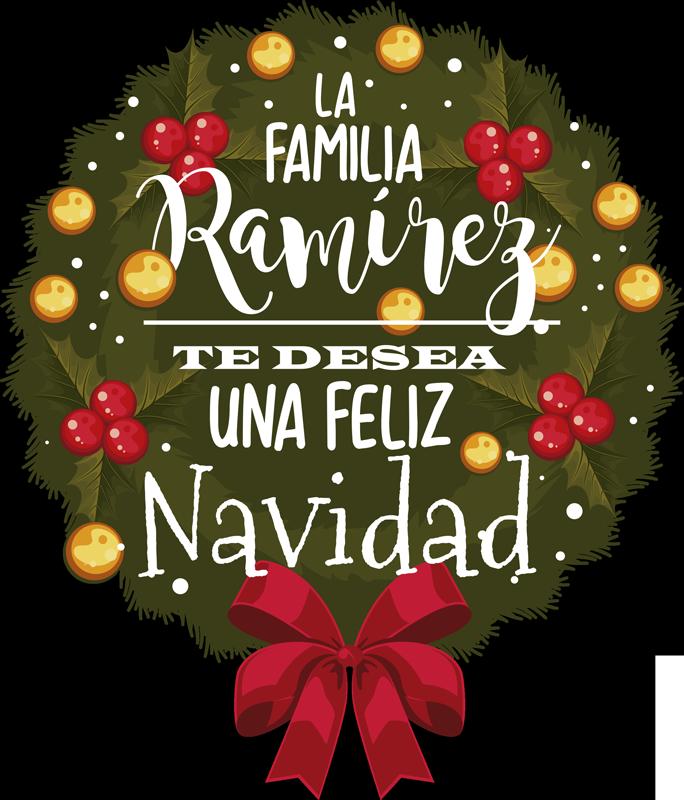 """TenVinilo. Pegatinas de navidad corona navideña nombre familia. Pegatina formada por el diseño de una corona adornada con el texto: """"La familia X te desea una Feliz Navidad"""". Atención al Cliente Personalizada."""