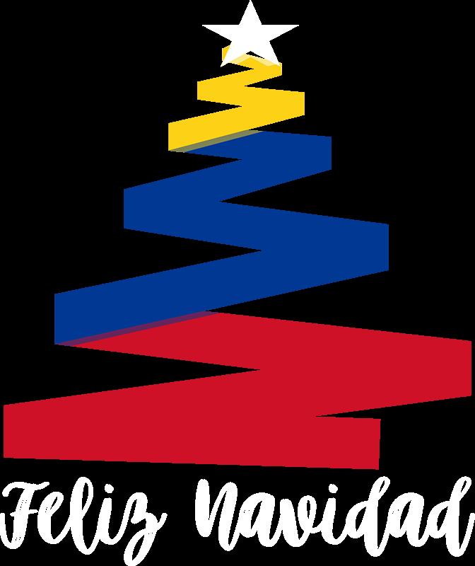 TenVinilo. Vinilo Feliz Navidad Colombiana. Vinilo formado por la ilustración abstracta de un árbol de navidad con los colores de la bandera colombiana. Compra Online Segura y Garantizada.