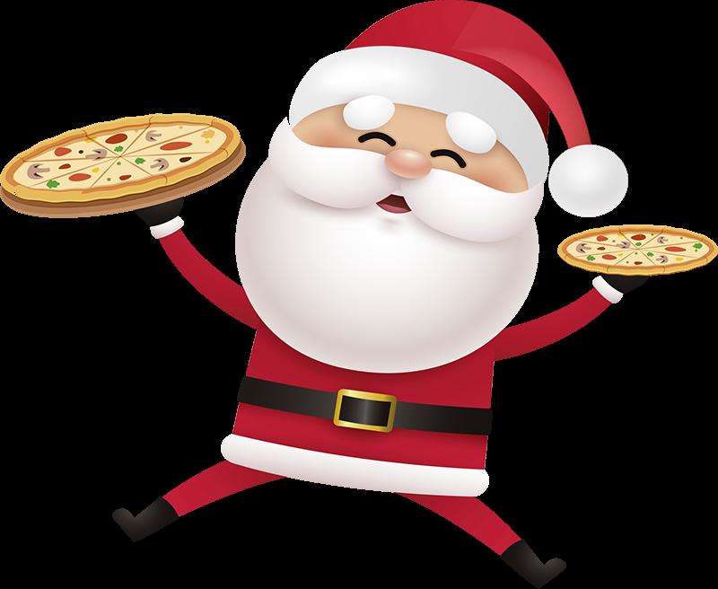 TenStickers. Adesivo Babbo Natale pizzaiolo. Questo fantastico adesivo babbo natale pizzaiolo sarà sicuramente una soluzione divertente per decorare le pareti di casa tua o della tua attività.