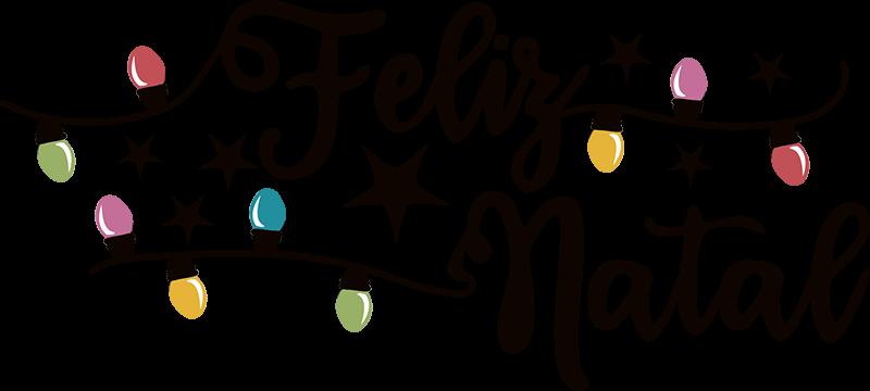 """TenStickers. Autocolantes decorativos de Natal Luzes Feliz Natal. Autocolante com a frase """"Feliz Natal"""" acompanhada de coloridas luzes e umas bonitas estrelinhas que fará as maravilhas desta quadra natalícia!"""