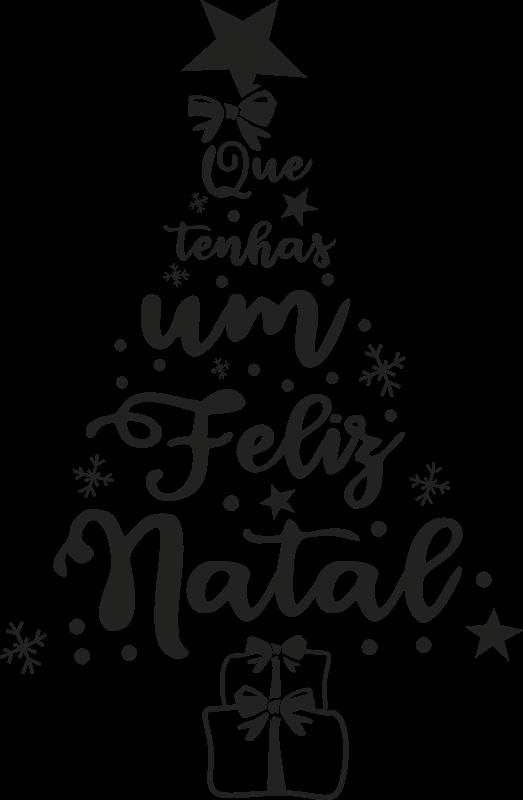 Autocolantes De Natal Pinheiro Feliz Natal Tenstickers