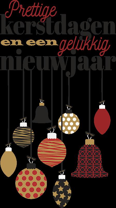 TenStickers. Kerststickers tekst met ballen. Een prachtige tekst raamsticker om uw huis mee te decoreren. Deze decoratie bestaat uit de tekst: prettige feestdagen en een gelukkig nieuwjaar.