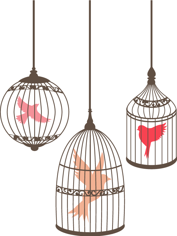 TenStickers. Birds in cage bird sticker. Decorate your home wih this stunning animal sticker . A beautiful design of birds in cages. Easy to apply. +10,000 satisfied customers.