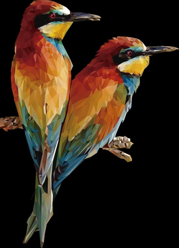 TenStickers. Cupl de pasăre decalaj de pasăre. Ușor de aplicat pe perete decorativ vinil de două papagale cu imprimeuri colorate ideale pentru fiecare spațiu de perete din casă. Aplicația este foarte ușoară.
