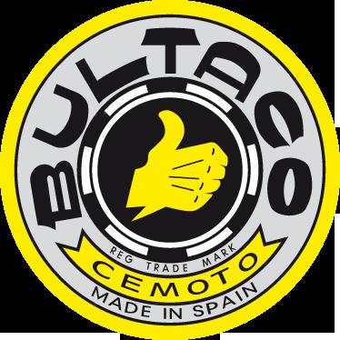 TenVinilo. Vinilo logo Bultaco antiguo. Adhesivo circular tradicional con el logotipo de esta famosa marca de motocicletas española. Con una gran historia a sus espaldas, Bultaco ha formado parte del mundo del motociclismo durante años.