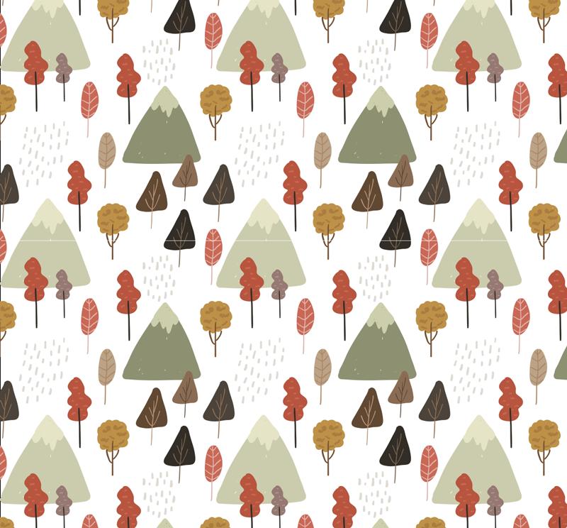 TenVinilo. Mural adhesivo bosque otoñal. Fotomural adhesivo formado por un paisaje de otoño con arboles y montañas sobre un fondo de color blanco. Promociones Exclusivas vía e-mail.