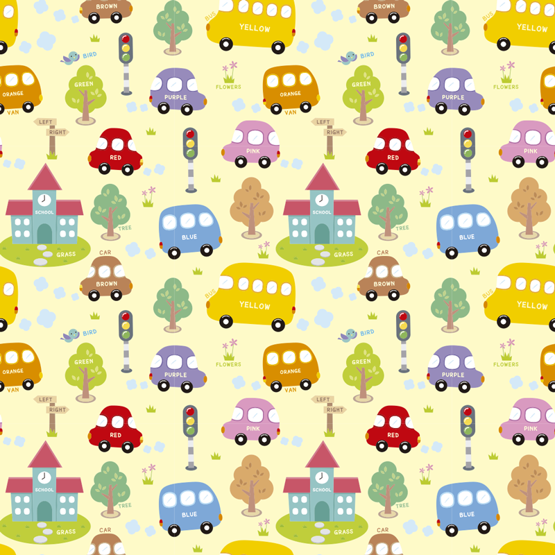 TenStickers. Toy cars wall mural decal. Easy to apply wall mural sticker with kids toy cars and illustrations for learning like colour names,school,trees,traffic light and direction poles.