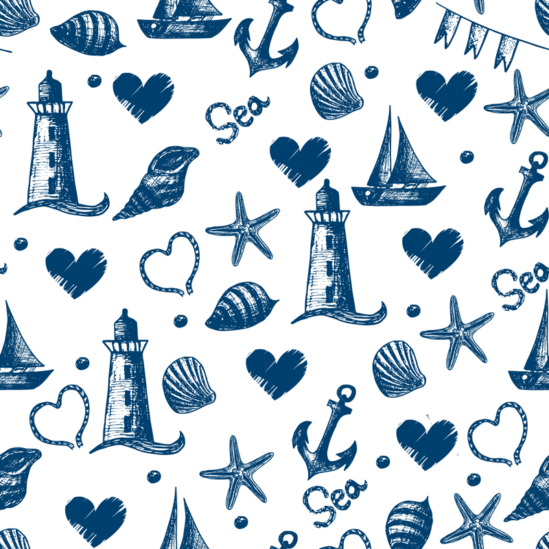 TenStickers. Hearts and anchors wall mural decal. Decorative wall mural sticker design of the deep blue sea with anchor objects to secure ship to water body, also are sea life like snail, star fish.