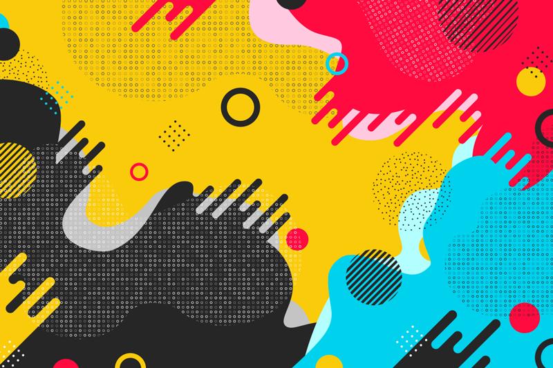 TenVinilo. Mural adhesivo moderno estilo memphis. Moderno fotomural adhesivo estilo memphis con diferentes colores que ahora puedes comprar para disfrutar de una decoración vanguardista.