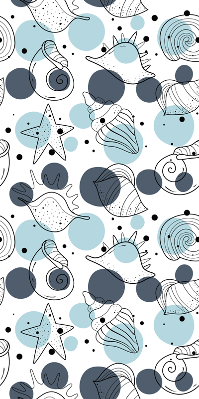 TenStickers. Meeresboden Tapetenaufkleber. Aufkleberative Tapete aufkleber design von meerestieren wie schnecken, seesterne, krabben und mehr in einfachen farben, um das wohnzimmer zu Aufkleberieren.