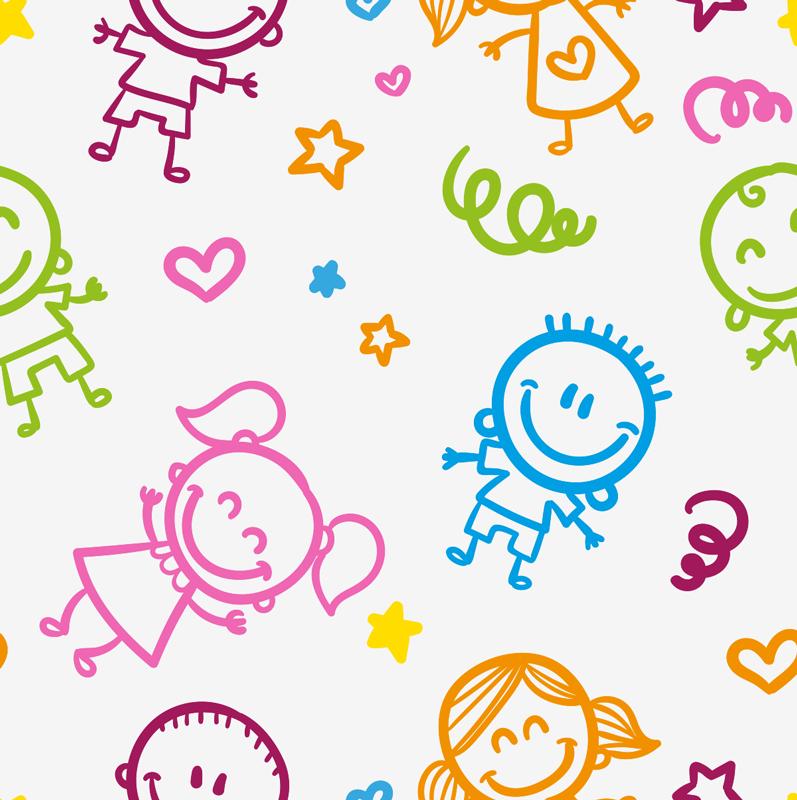 TenStickers. stickers muraux bébé garçon et fille. Conception d'stickers muraux décoratifs de garçons et de filles de bande dessinée avec des caractéristiques spéciales dans un style et un fond colorés pour embellir n'importe quel espace mural pour enfants.