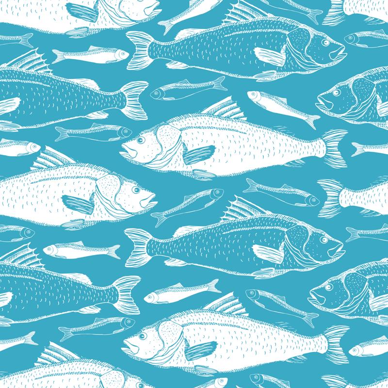 TENSTICKERS. 海の魚壁壁画デカール. 深い青色の海の背景にある海魚の装飾的な壁の壁画ステッカー。リビングルームの壁や家のスペースを美しくします。