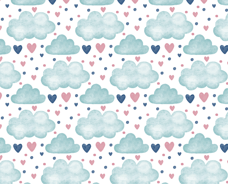 TenStickers. Clouds and hearts wall mural decal. Easy to apply wall mural sticker for kids room created with cloud and heart shapes in multiple to cover and decorate the wall space in the home.