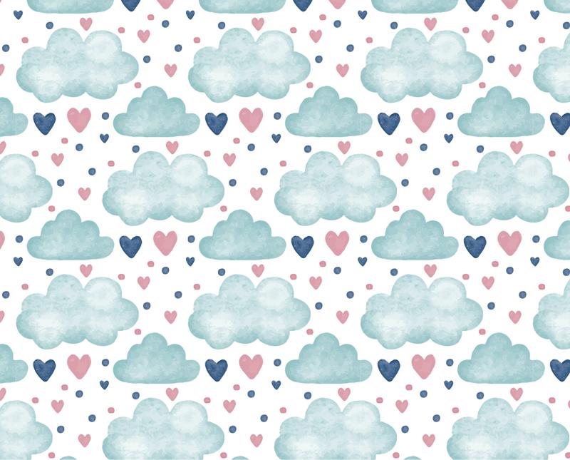 TenVinilo. Mural adhesivo infantil nubes y corazones. Fotomural adhesivo de pared fácil de aplicar para la habitación de los niños creado con formas de nube y corazón en múltiples formas. Fácil de colocar.