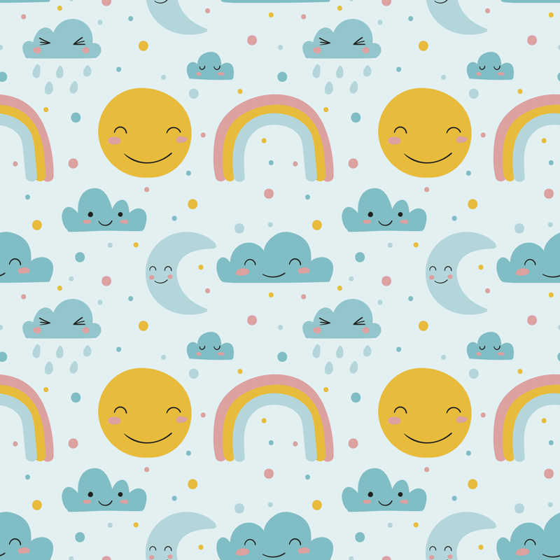 TenStickers. Happy cloud and sun nursery wallpaper. Decorating your nursery in a calm way is important to help relax your baby into a peaceful sleep, so why not opt for our nursery wallpapers?