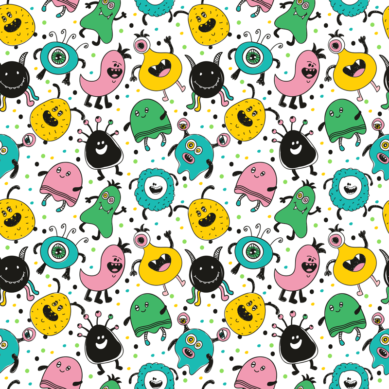 TenStickers. Happy monsters wallpaper. Ahhh a monster!Oh wait these happy monsters are friendly! Decorate your kid's bedroom with this design from our collection of kid's bedroom wallpaper.