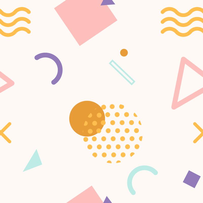 TenStickers. Memphis Tapetenaufkleber. Einfach anzubringende dekorative selbstklebende Tapeteaufkleber mit geometrischen formen und mustern mit buntem hintergrund für jeden wandraum im haus.