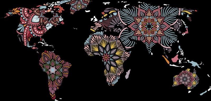 TenStickers. Autocollant de mandala de carte du monde. Un magnifique autocollant de carte du monde à appliquer dans votre salon. Cette conception est une carte du monde et les zones sont constituées de la structure du mandala.