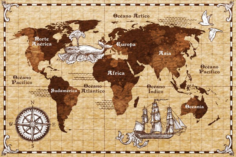 TenVinilo. Vinilo adhesivo mapamundi vintage con brújula. Vinilo decorativo mapamundi vintage con brújula. Hermoso diseño sobre un fondo marrón con características en la superficie para hacer un viaje en él.