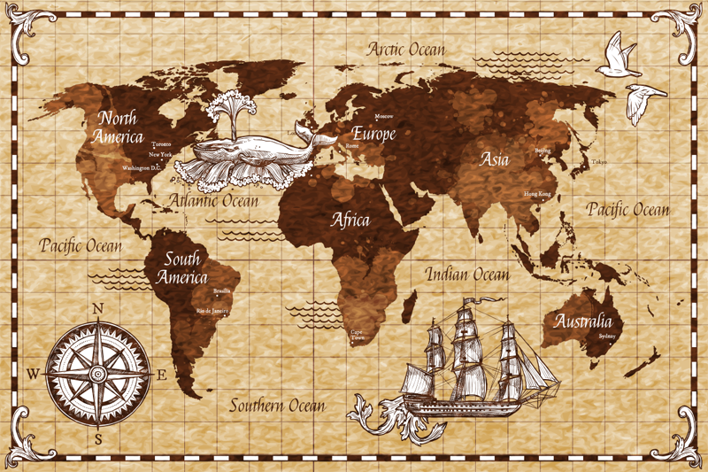 TenStickers. Vintage world map sticker. Explore the world using this beautiful world map sticker.  Taking inspiration from the vintage look this sticker is perfect for you!