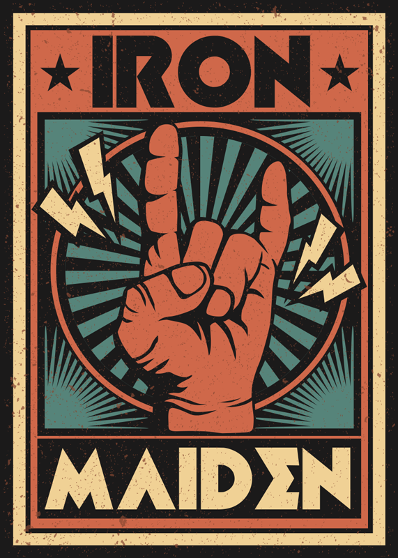 TenStickers. Iron Mainden  heavy metal decal. If you are an heavy metal fan then this is the perfect heavy metal sticker for you! A poster style sticker with any name of a band you love